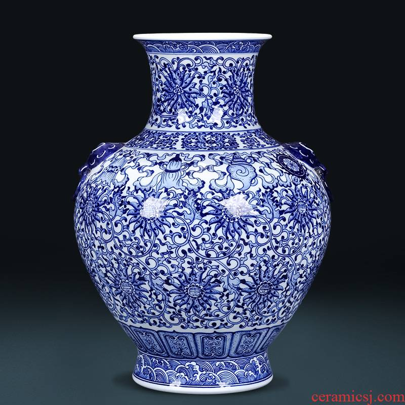 Jingdezhen ceramics imitation qianlong hand - made the ears of the blue and white porcelain vase furnishing articles Angle of new Chinese style living room what ornaments