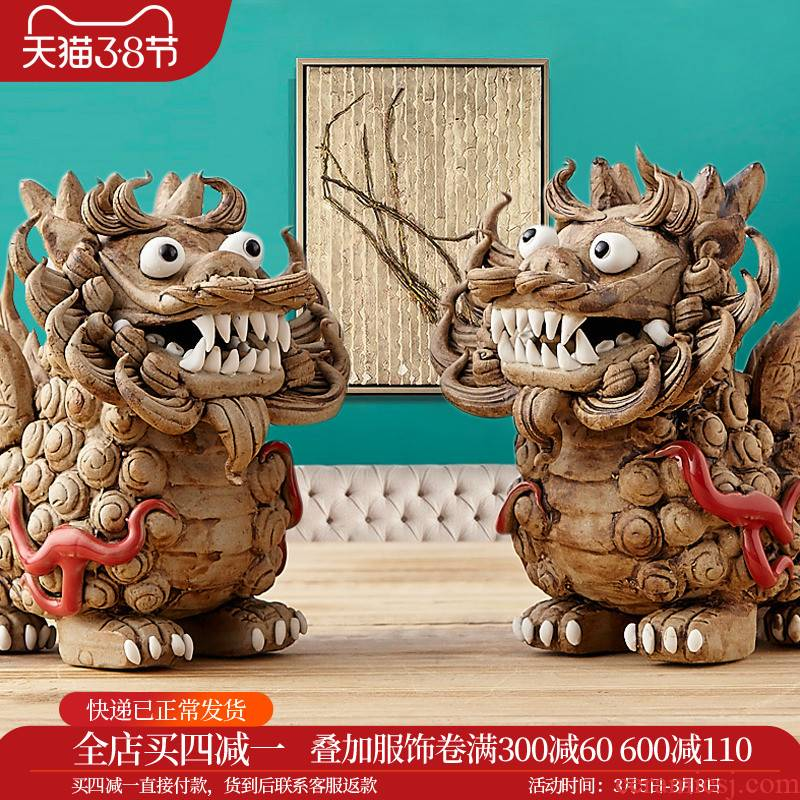 Merry household act the role ofing is tasted sitting room adornment is placed creative gift gift ceramics, kirin cattle jingdezhen northern Europe