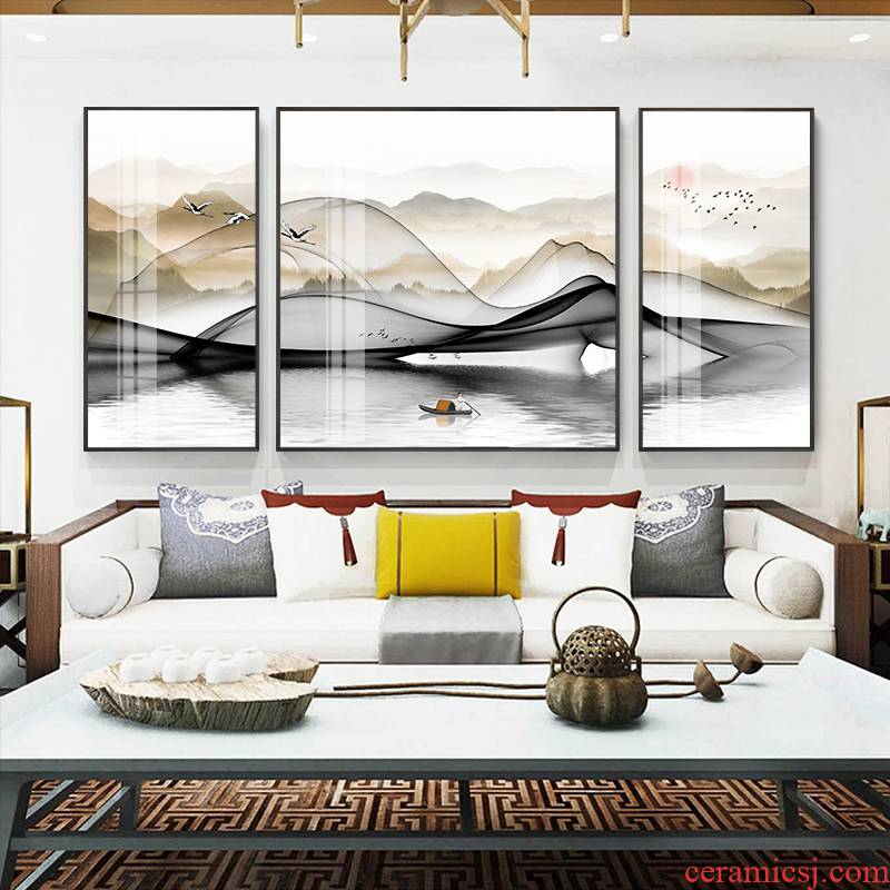 New Chinese style style living room sofa setting wall sanlian decorative crystal porcelain painting show scenery of bedroom the head of a bed hangs a picture