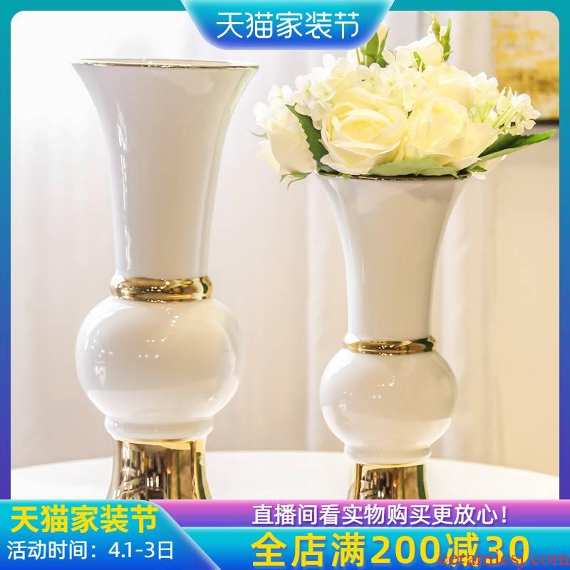Jingdezhen light European - style key-2 luxury furnishing articles adornment home sitting room office table vase simulation flower decoration