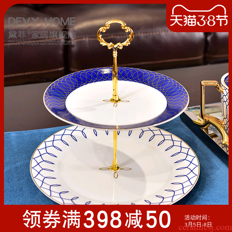American light key-2 luxury European - style afternoon tea double ceramic fruit bowl, small delicate Chinese pastry dish of tea table decoration furnishing articles