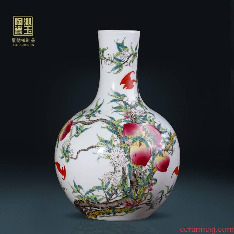 Jingdezhen ceramic vases, flower arranging archaize sitting room nine big vase pastel peach tree furnishing articles rich ancient frame decoration