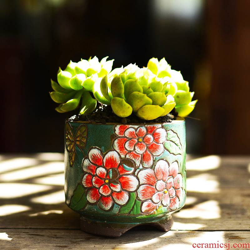 Fleshy ceramic flower pot meat meat, green potted the plants coarse pottery creative household Korean hand - made pottery clay tall old from running