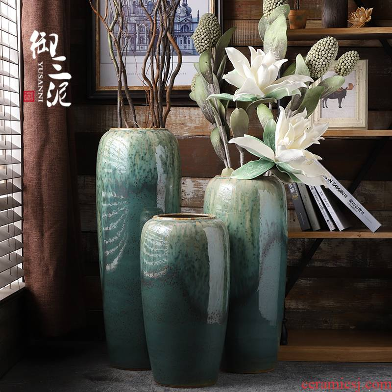 Vase furnishing articles flower arranging large sitting room ground jingdezhen ceramic checking contracted Nordic artical Vase