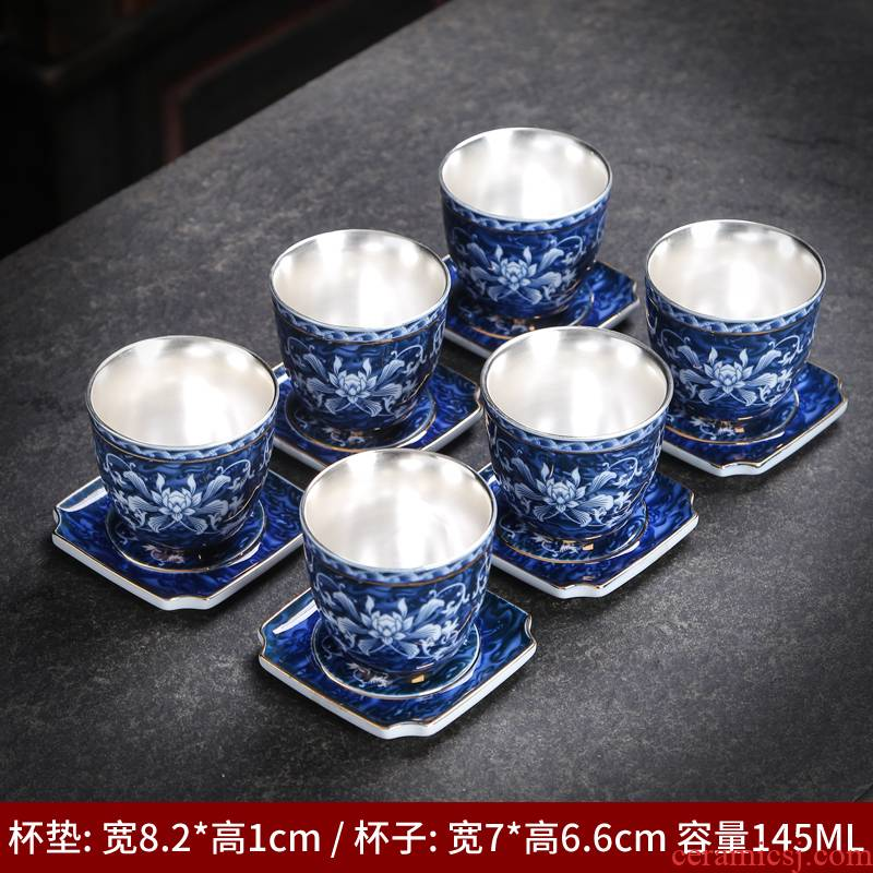 Kung fu tea cups of jingdezhen ceramic cup with single with blue water household glass tea cup tea cup