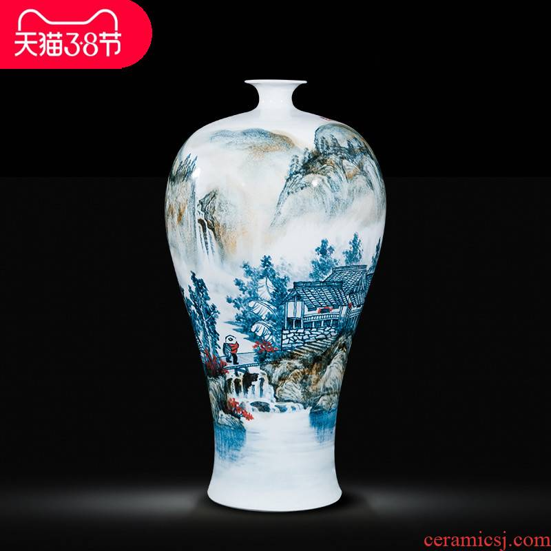 Jingdezhen ceramic celebrity master hand draw more than jiangshan jiao large vase household adornment handicraft furnishing articles