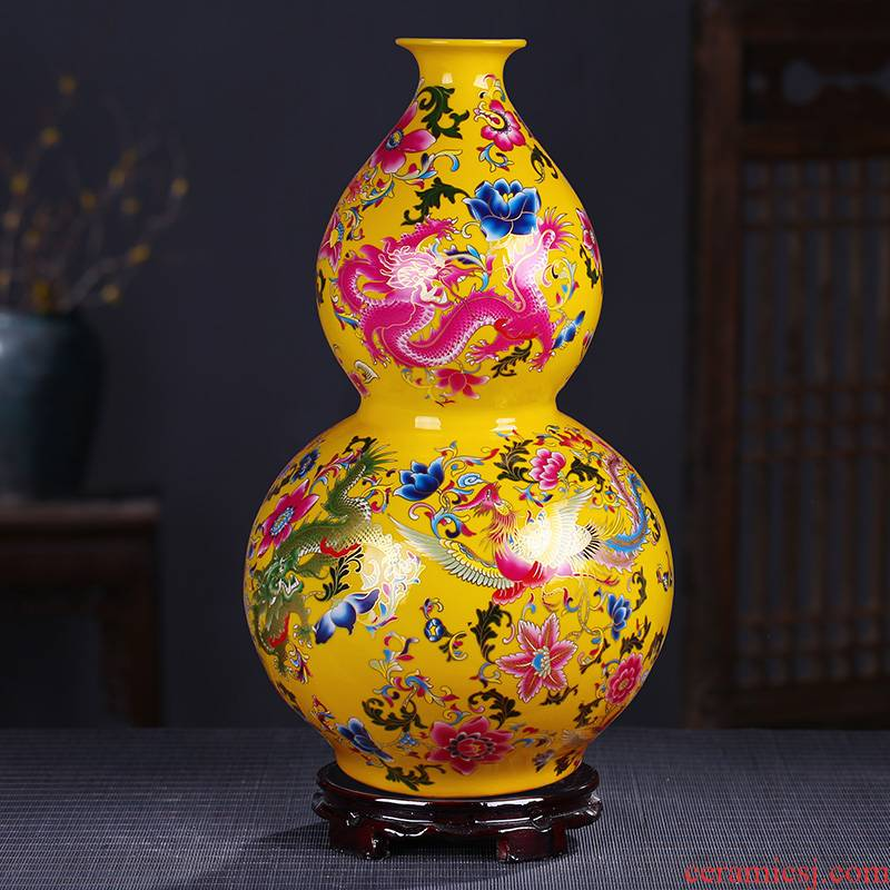 Ceramic powder of large vase inserted colored enamel vase of modern Chinese style flower implement furnishing articles furnishing articles decoration large living room