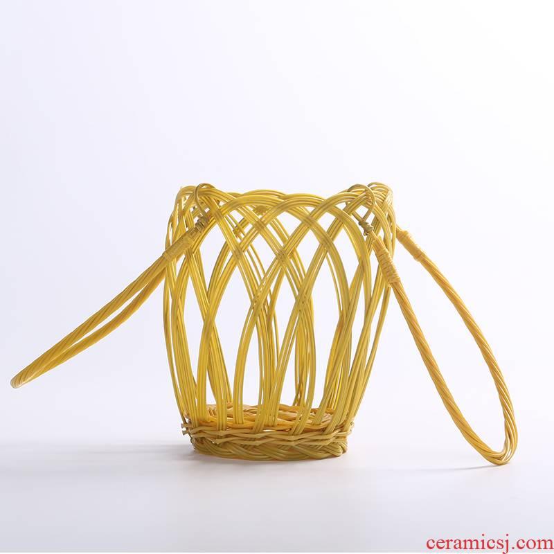 Jingdezhen ceramic bottle basket 1 catty 2 jins of 3 kg 5 jins of 10 jins jars basket hand basket of rope