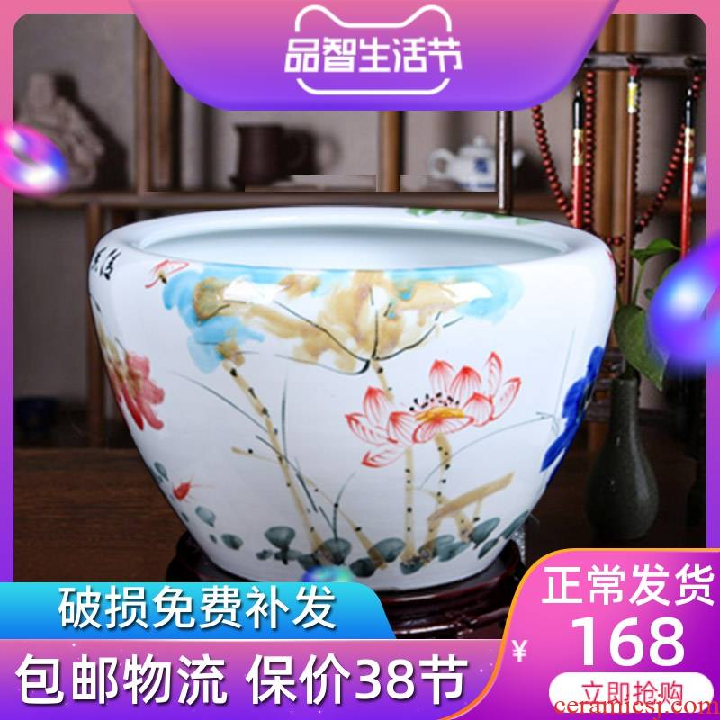 Jingdezhen ceramic aquarium round indoor and is suing goldfish bowl sitting room aquarium water lily lotus painting and calligraphy cylinder