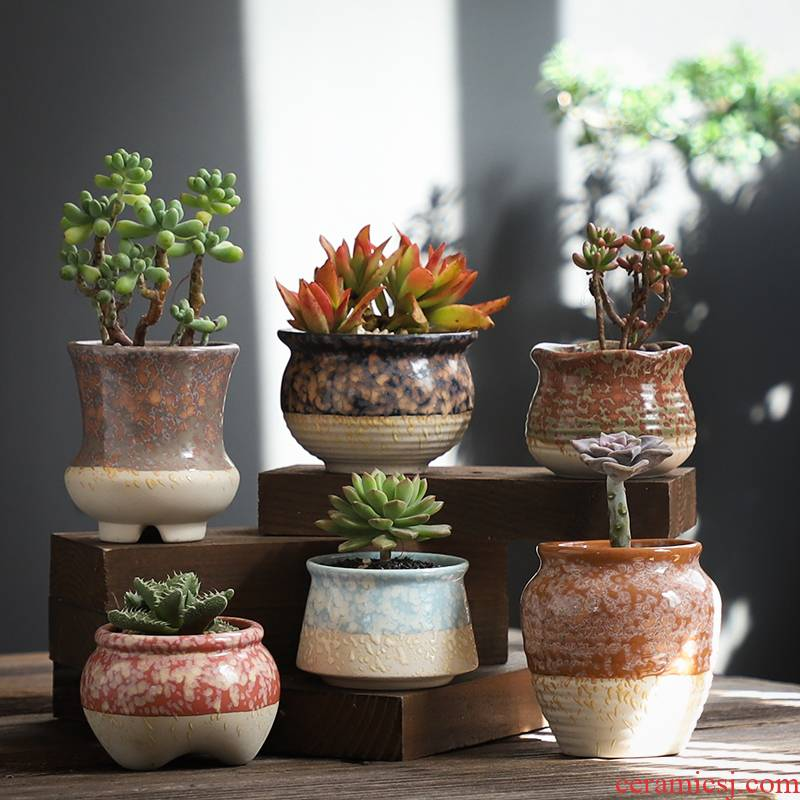 Pot set combination coarse pottery breathable creative move fleshy plant special offer a clearance package mail fleshy flower Pot