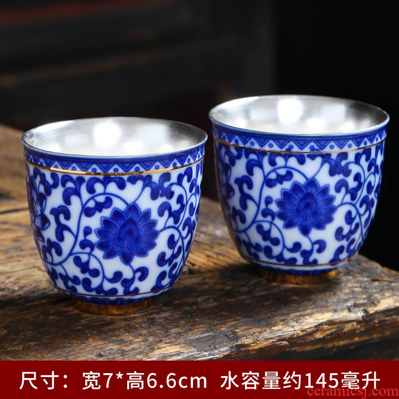Jingdezhen blue and white porcelain teacup ceramic cups single CPU master cup kung fu tea tea set, the bowl sample tea cup