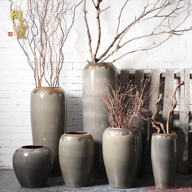 I and contracted large vase furnishing articles sitting room flower arranging jingdezhen ceramic POTS landing European - style villa decoration in gold