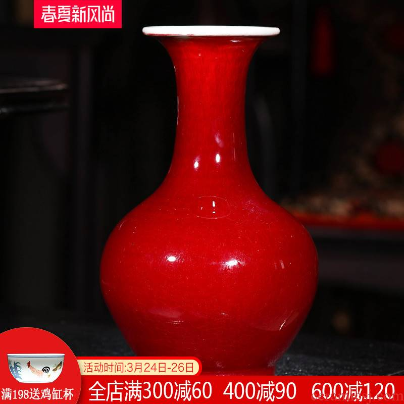 Jingdezhen ceramics archaize lang red crackle vases, flower arranging Chinese style restoring ancient ways household adornment handicraft furnishing articles