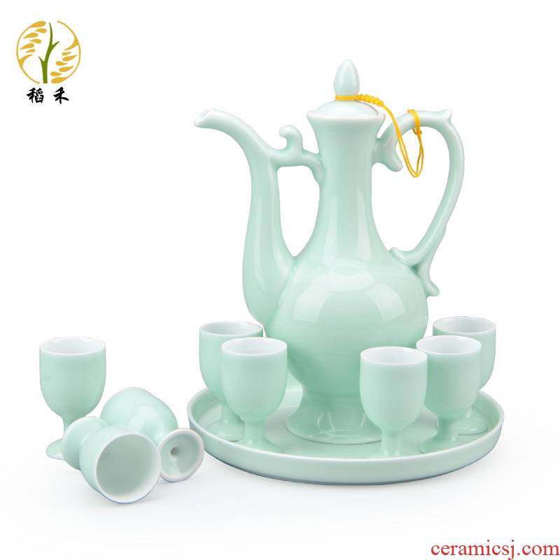 Jingdezhen thin foetus shadow celadon hip ceramic wine suits for Chinese antique white wine a small handleless wine cup glass ipads porcelain household