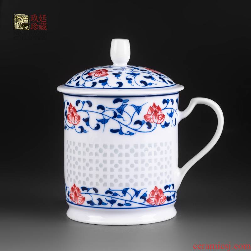About Nine katyn ceramic cups with cover household large office, the boss of blue and white porcelain cup tea cup of jingdezhen tea service