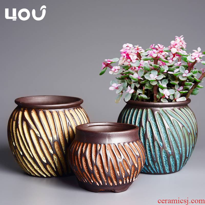 Old rock, coarse pottery flowerpot more meat clearance breathable meat meat the plants potted small creative home, green clay POTS