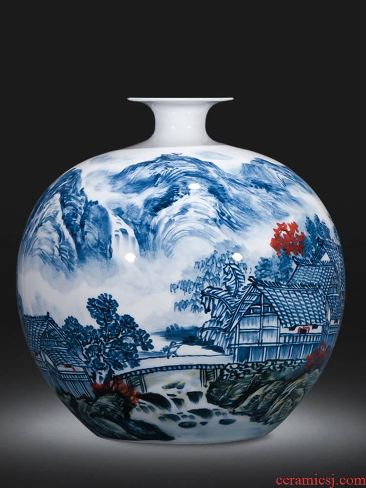 Jingdezhen ceramics vase masters hand draw colorful landscape of pomegranates of blue and white porcelain bottle Chinese sitting room adornment is placed