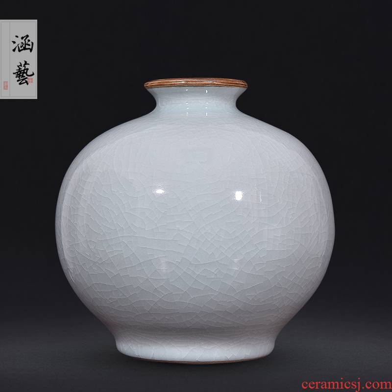 Jingdezhen ceramics new Chinese style living room rich ancient frame retro flower vase household adornment handicraft furnishing articles