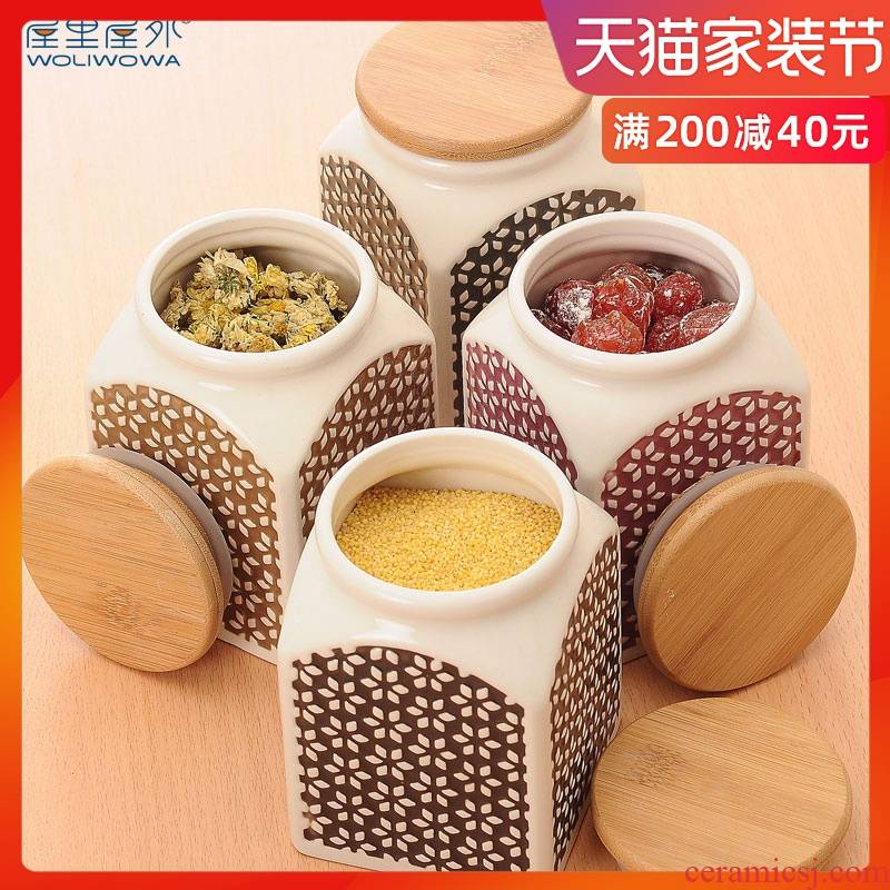 Creative ceramic seal tank storage jar caddy fixings flavor pot seasoning bottle of grain sealing of snacks