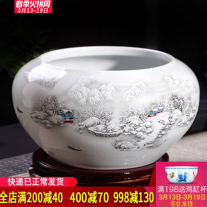 Jingdezhen ceramics goldfish turtle cylinder refers to potted writing brush washer from home furnishing articles large water lily, lotus