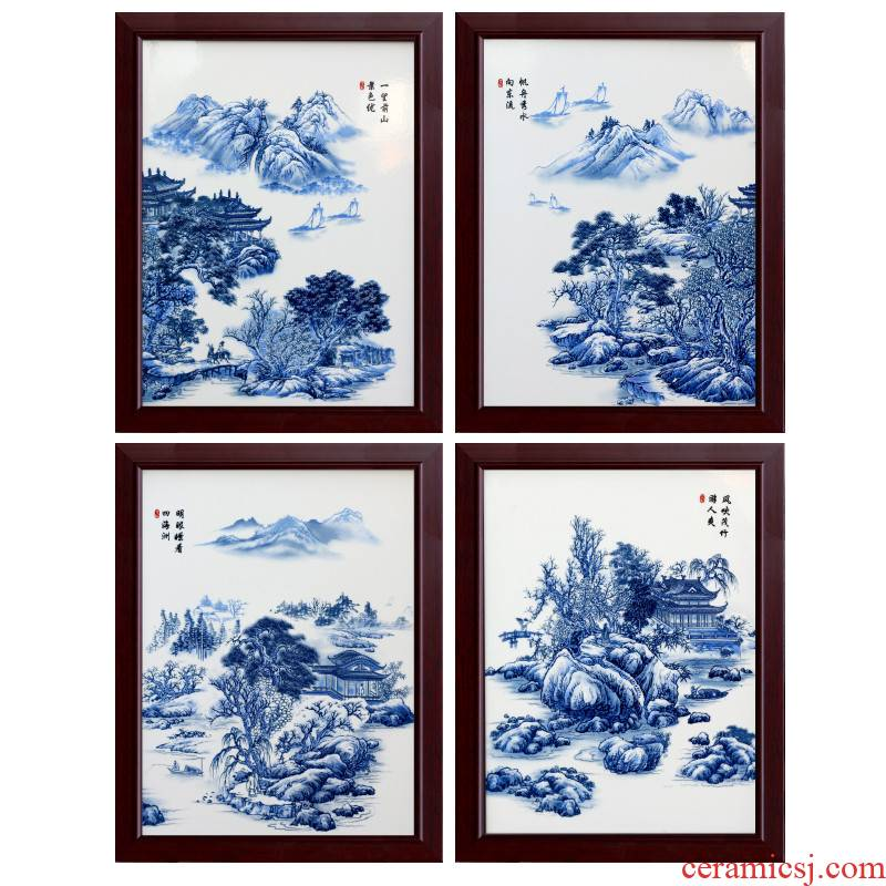 Jingdezhen ceramic painter blue - and - white splendid sunvo landscape porcelain plate four screens hang mural decoration in the sitting room