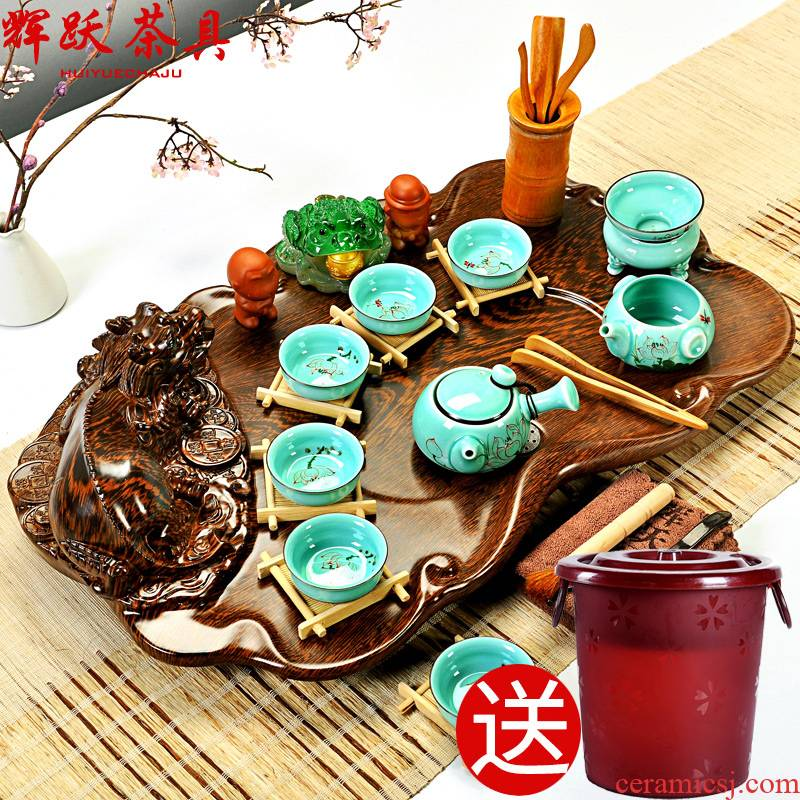 Hui, make tea set suits for your up celadon ceramic solid wood tea tray of a complete set of ice to crack kung fu tea set
