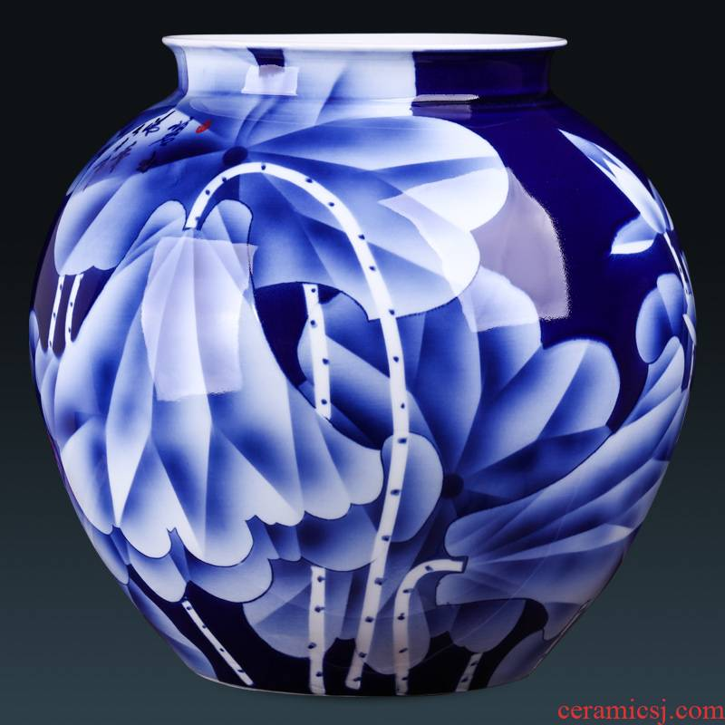 Jingdezhen ceramics by hand draw blue and white porcelain vase furnishing articles flower arranging Chinese style household adornment large living room