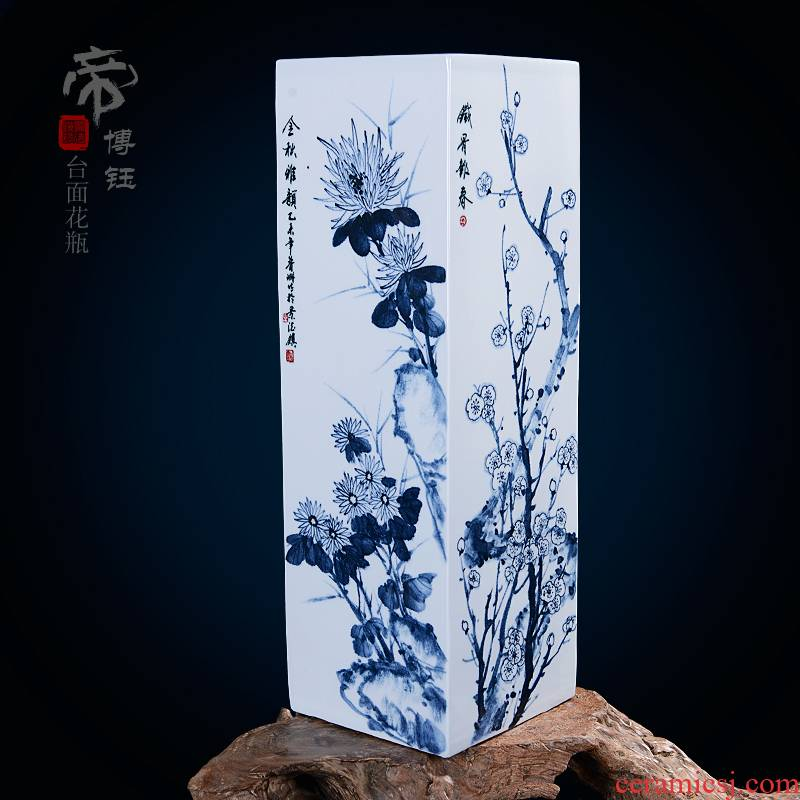 Jingdezhen ceramics by hand draw the traditional Chinese painting landscape vase by patterns with Chinese style sitting room adornment is placed