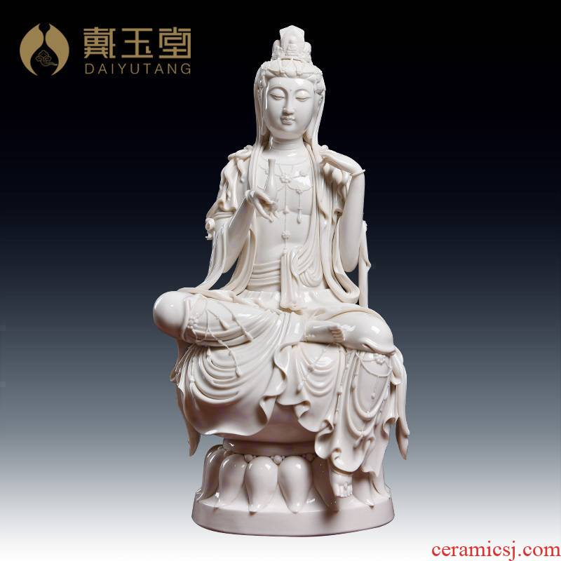 Yutang dai Zheng Jinxing master manually signed dehua ceramic study home furnishing articles contemplation guanyin/D18-38