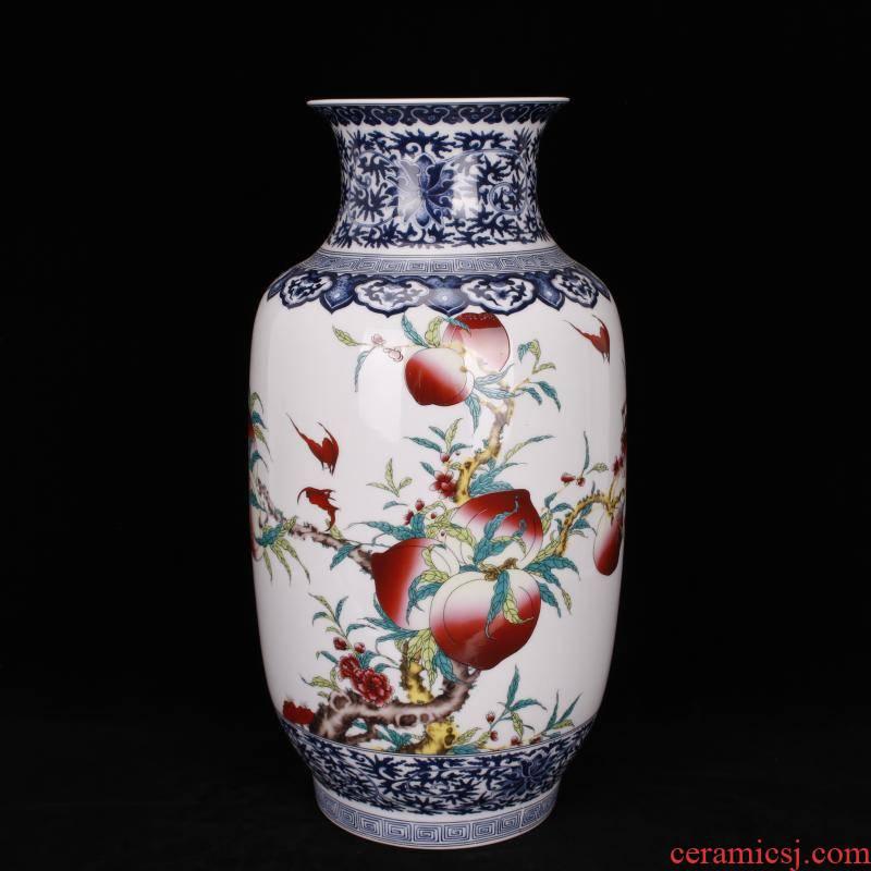Jingdezhen imitation idea gourd qianlong pastel live long and proper Chinese antique vase vase antique living room a study place