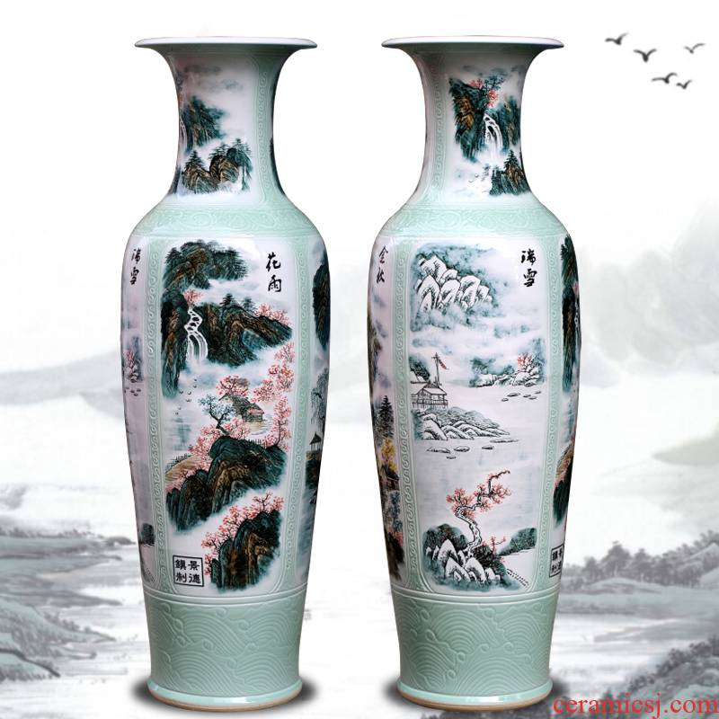 The New Chinese jingdezhen sitting room of large vase ceramic arts and crafts flower arranging, hand - made decorative carving furnishing articles