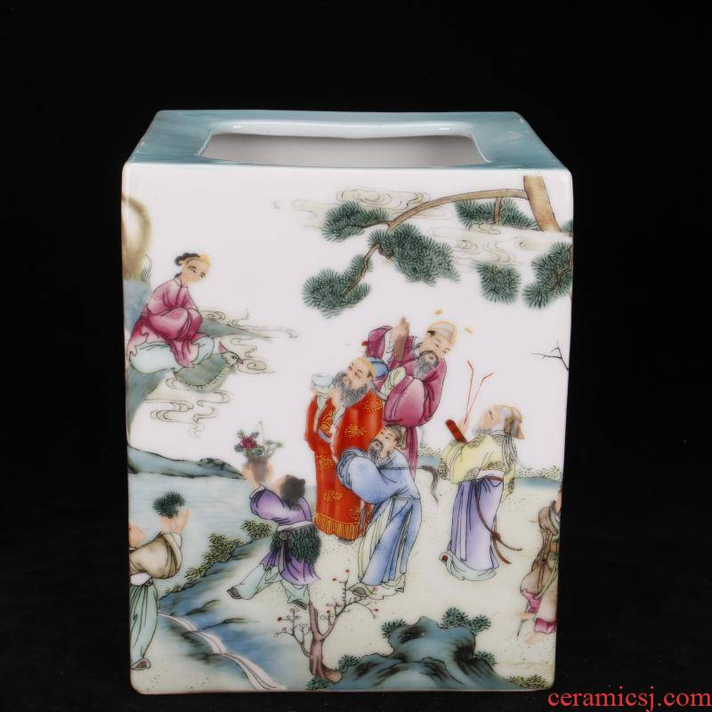 """Jingdezhen imitation the qing colored enamel characters brush pot """"four desk pen sea antique antique Chinese style of archaize ceramic furnishing articles"""