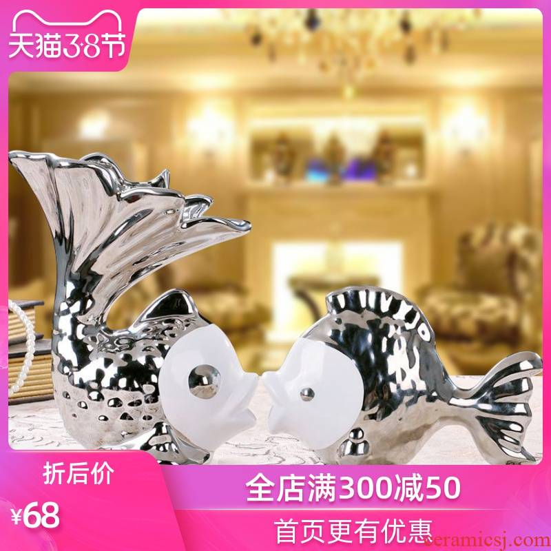 Creative decorations household decorates sitting room adornment furnishing articles Creative gift ceramics crafts silver couples to kiss fish
