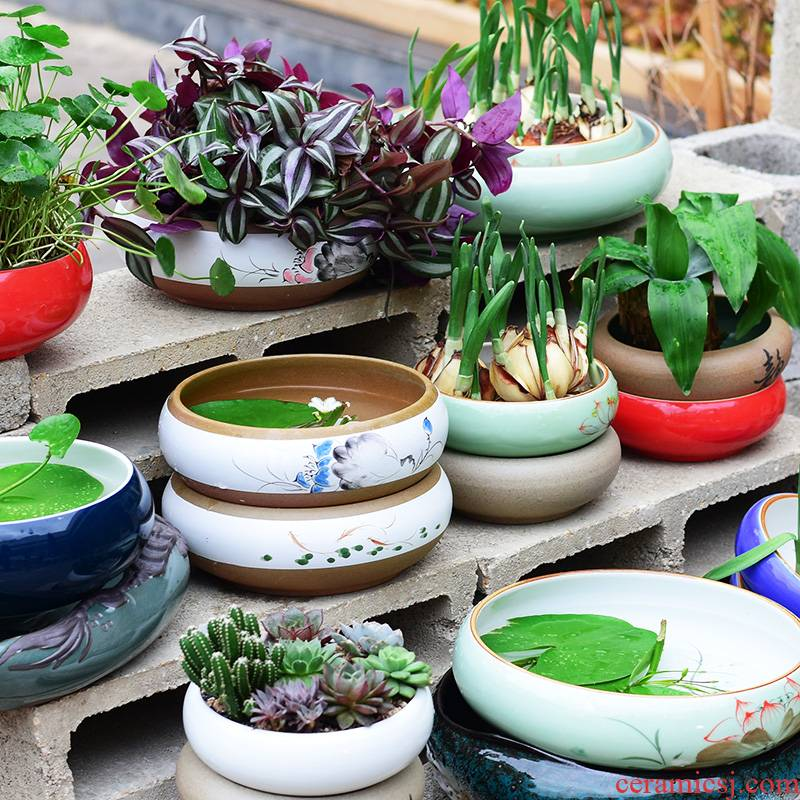 Refers to flower pot ceramic wholesale clearance nonporous hydroponic container grass cooper home extra large bowl lotus pond lily, fleshy