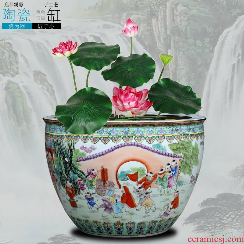 Jingdezhen ceramic powder enamel big goldfish turtle lotus lotus tank yard hotel large feng shui furnishing articles