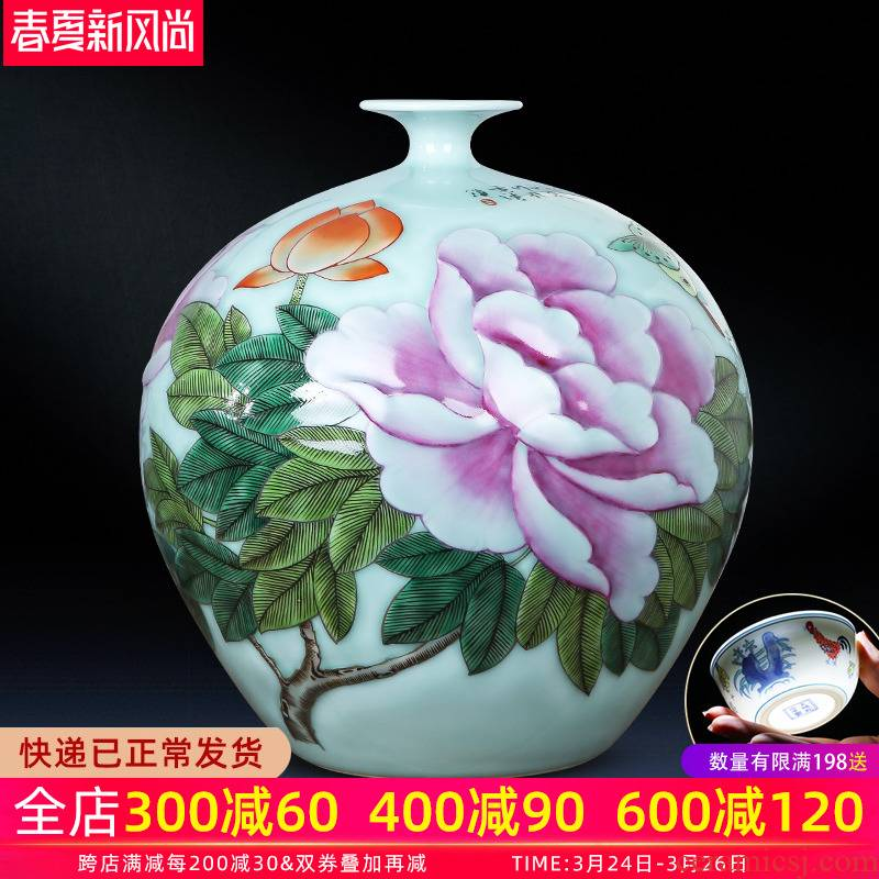 Jingdezhen ceramics green glaze hand - made blooming flowers vase decoration furnishing articles pomegranate bottles of new Chinese style household act the role ofing is tasted