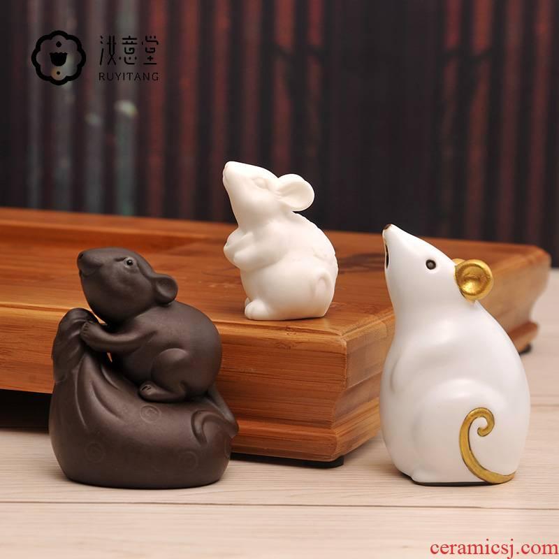 Your up zodiac tea pet mice purple sand tea tray rat white porcelain tea tea taking with zero decoration small place