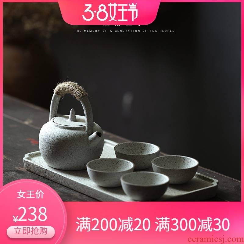 Jiangnan tea tea set suit Japanese coarse pottery pot of girder past small suit kung fu teapot home office