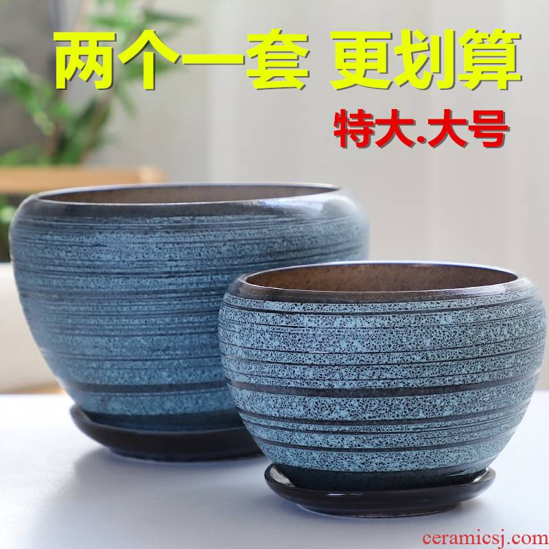Flowerpot ceramic indoor large extra large clearance with tray was creative move bracketplant contracted more than other meat flower pot