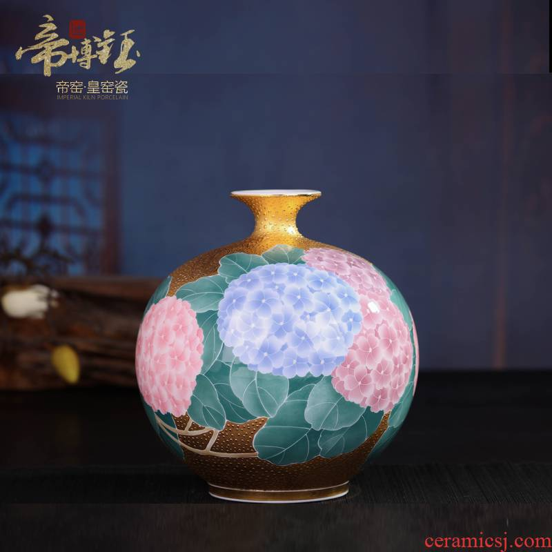 Jingdezhen ceramic glaze by hand under the pomegranate bottle color gold lotus high - grade handicraft ceramic vases, furnishing articles