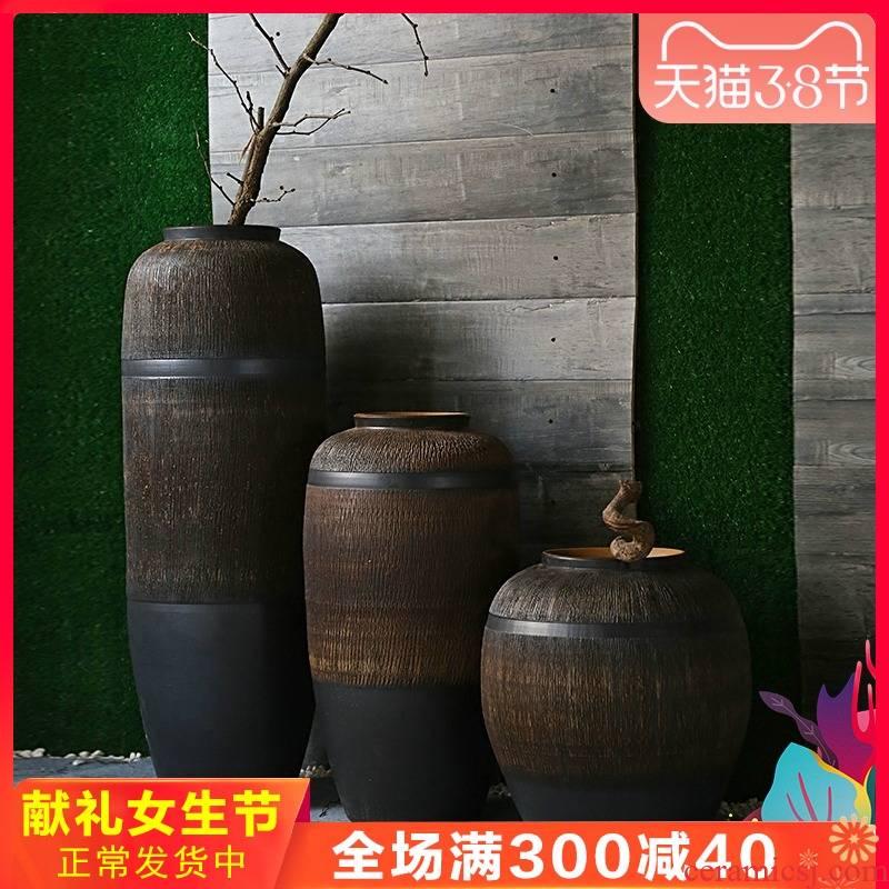 Jingdezhen retro nostalgia landing big POTS restaurants hotel decoration flower receptacle ceramic vase furnishing articles