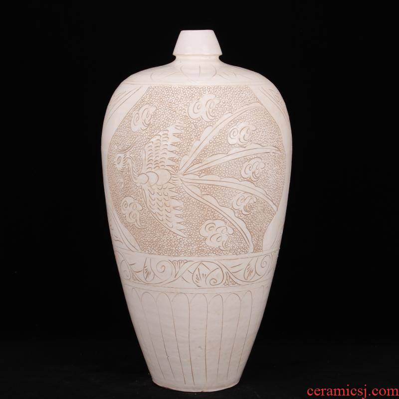 Jingdezhen imitation song dynasty style typeface magnetic state up with white ground grain mei bottle company hotel Chinese contracted household soft outfit vase furnishing articles