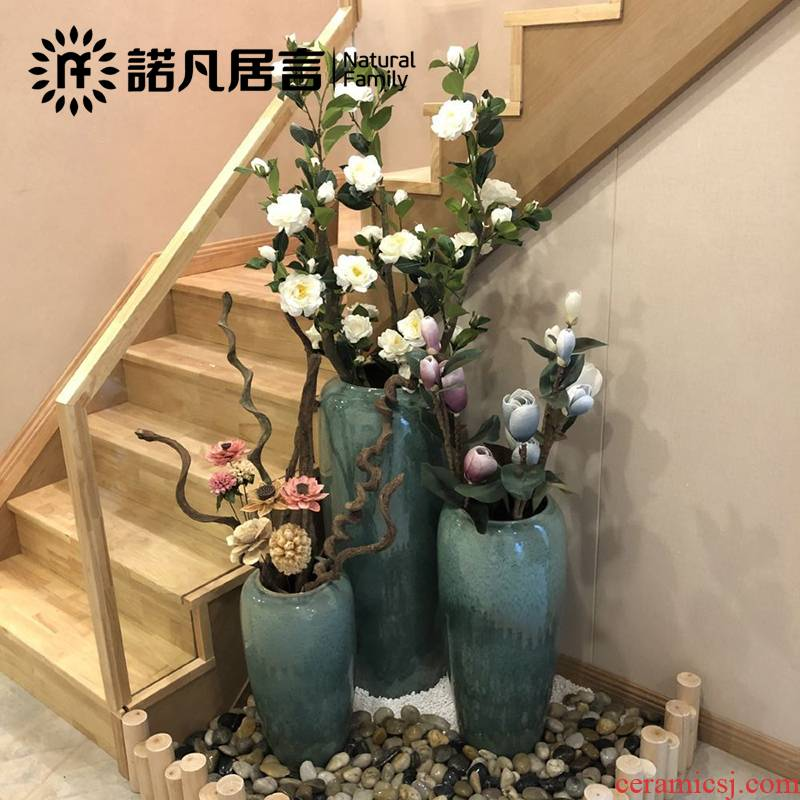 Dried flower color glaze up ceramic floor vase flower arranging flower implement ins furnishing articles large modern European living room vase