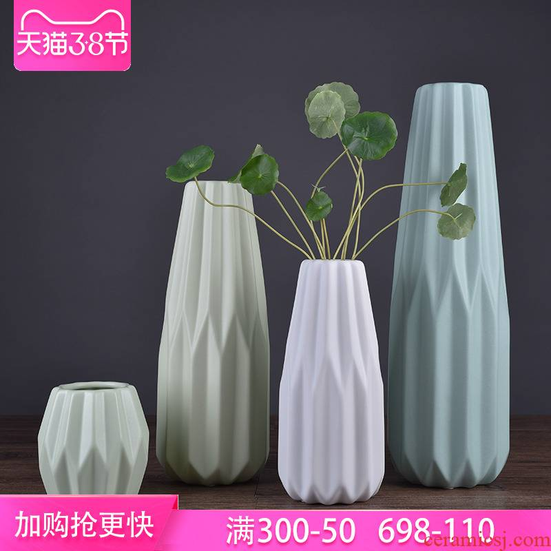 Ceramic vase sitting room desk flower arranging small place small pure and fresh and creative arts and crafts porcelain example room