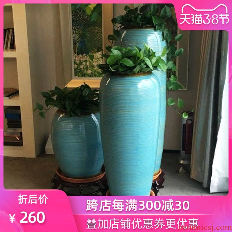 Simple jingdezhen large vases, ceramic furnishing articles continental high sitting room be born American hydroponic plant money plant flower pot