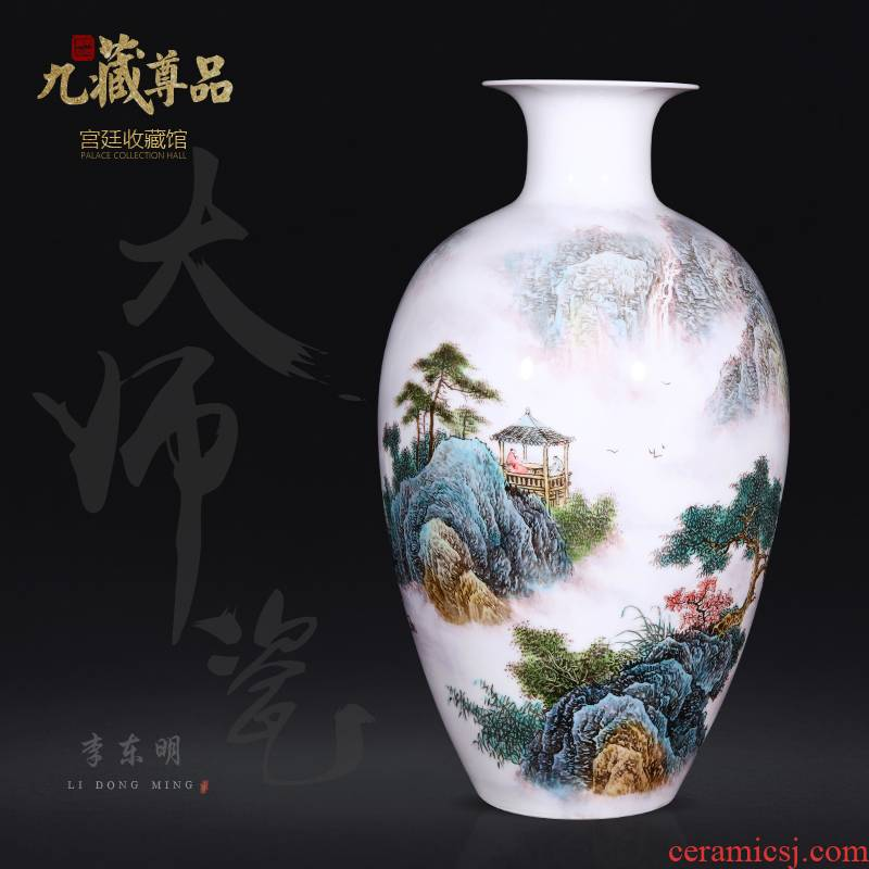 Jingdezhen ceramics dong - Ming li hand - made pastel landscape vase household of Chinese style living room porch flower arranging furnishing articles