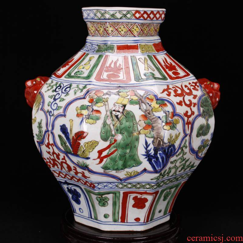 Jingdezhen blue and white antique imitation yuan antique bucket color colorful characters of the six - party tank retro decoration old items collection