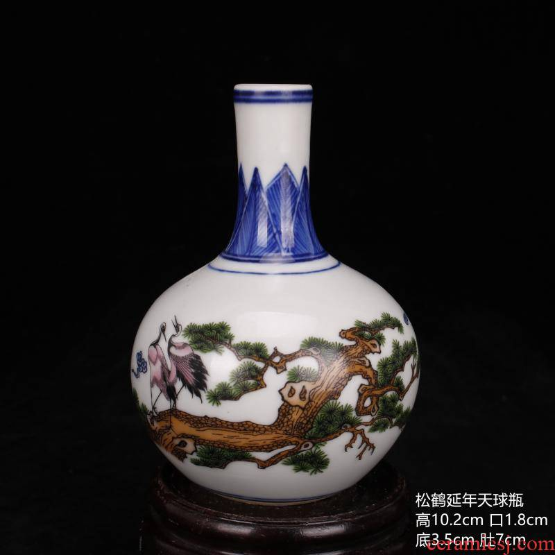 Jingdezhen bucket color painting of flowers and pine crane, mini celestial floret bottle, antique household archaize ceramic furnishing articles frame window