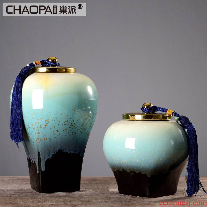 New Chinese style in modern ceramic storage jar with cover the sitting room porch vase furnishing articles classical ink painting decorative arts and crafts