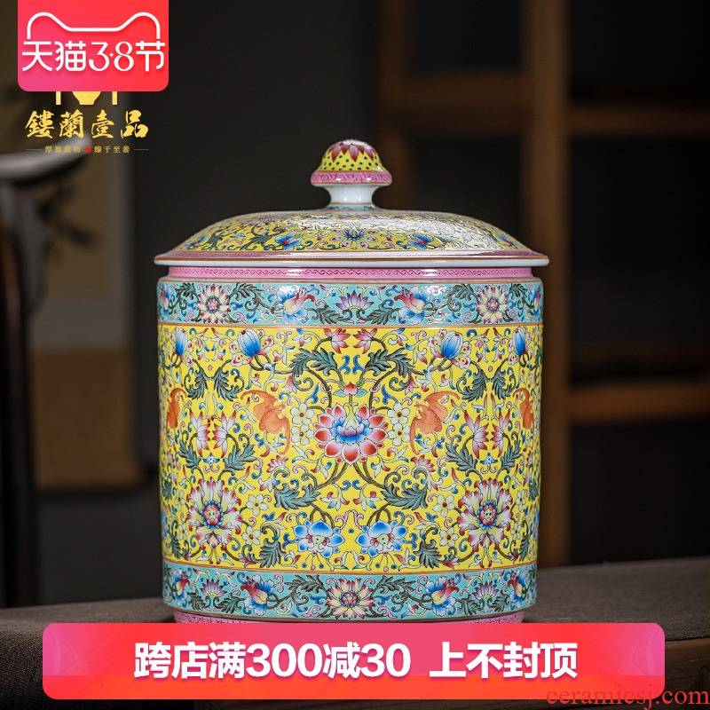 Jingdezhen ceramic all hand - made to pastel yellow tie up branch lotus caddy fixings large - sized kunfu tea tea tea storage storehouse fitting